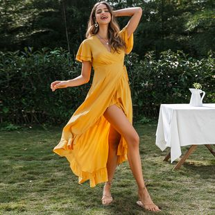 Sexy legs split ends vacation boho dress wholesale fashion women's clothes NHDE201716's discount tags