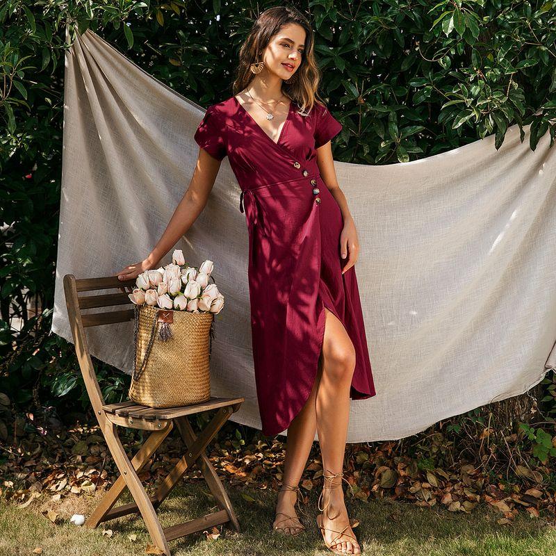 V-neck bright color sexy leg split dress wholesale fashion women's clothes NHDE201717