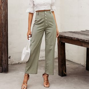 Solid color casual high waist pants wholesale fashion women's clothes NHDE201722's discount tags