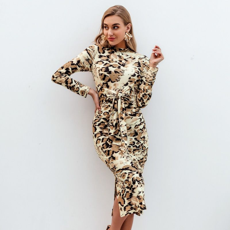 Sexy brown long sleeve dress wholesale fashion women's clothes NHDE201734