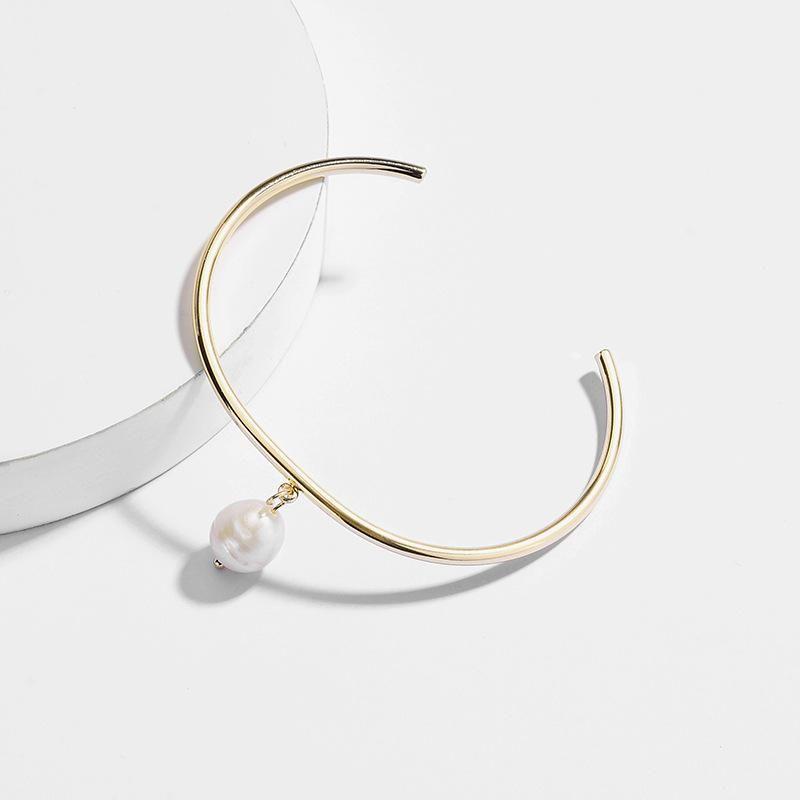 Jewellery copper bracelet natural freshwater pearl pendant opening adjustable NHLU201676
