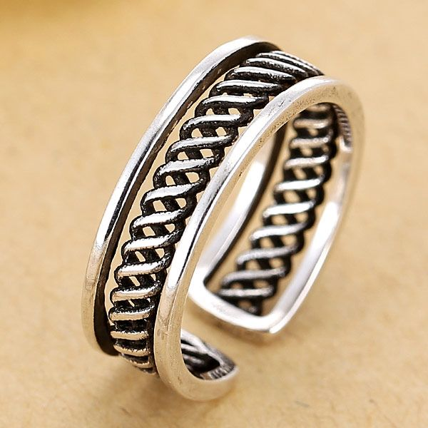 Fashion jewelry metal vintage woven open ring NHSC202471