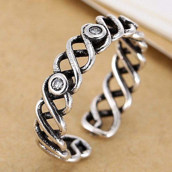 Fashion jewelry metallic vintage flash diamond braided split ring NHSC202470
