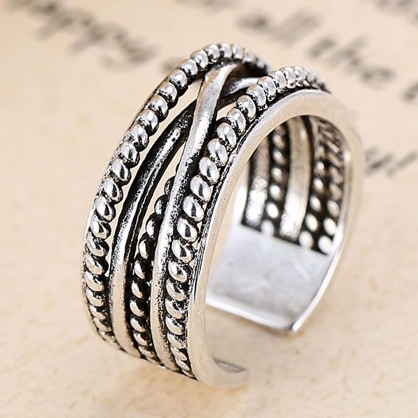 Fashion jewelry metal vintage woven temperament open ring NHSC202469