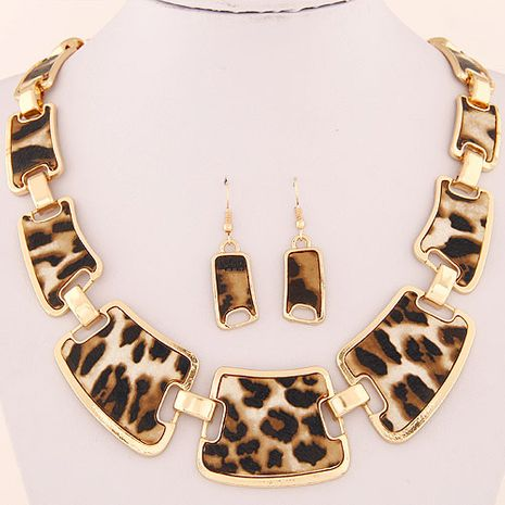 Stylish Metal Leopard Print Wild Geometric Collar Necklace Earring Set NHSC202463's discount tags