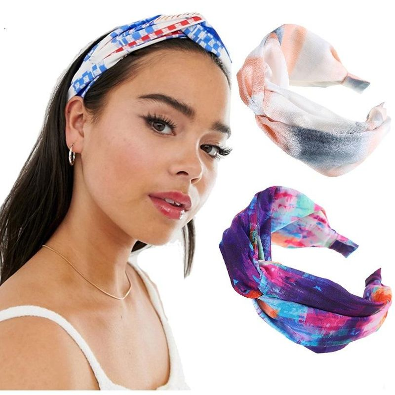 Korean wide edge color printing starry pattern knotted headband female simple wild fashion headband NHLN201838