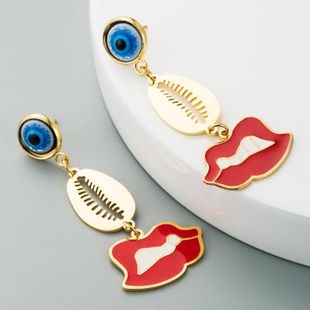 Popular Devil Eyes Red Lips Stainless Steel Drop Oil Long K Gold Tassel Earrings NHLN201839's discount tags
