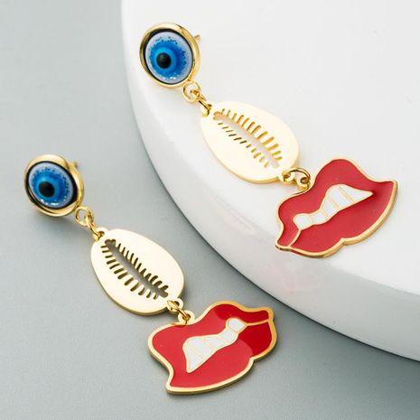 Popular Devil Eyes Red Lips Stainless Steel Drop Oil Long K Gold Tassel Earrings NHLN201839's discount tags