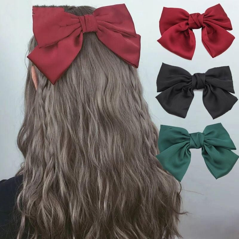 Large satin bow hair clip spring clip Korean hair clip ponytail hair clip hair accessories NHLN201841