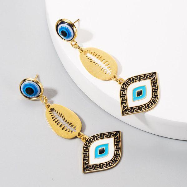 Long earrings female eyes retro earrings stainless steel drip oil bohemian earrings NHLN201843
