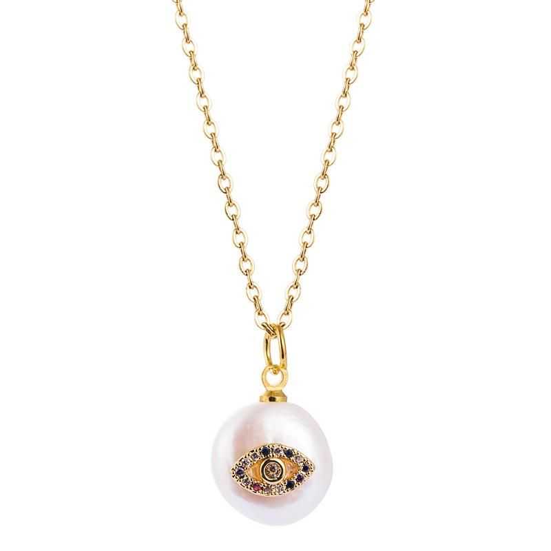 Women's Necklace Brass Pearl Inlaid Colored Cubic Zirconia Eye Clavicle Chain NHLN201844