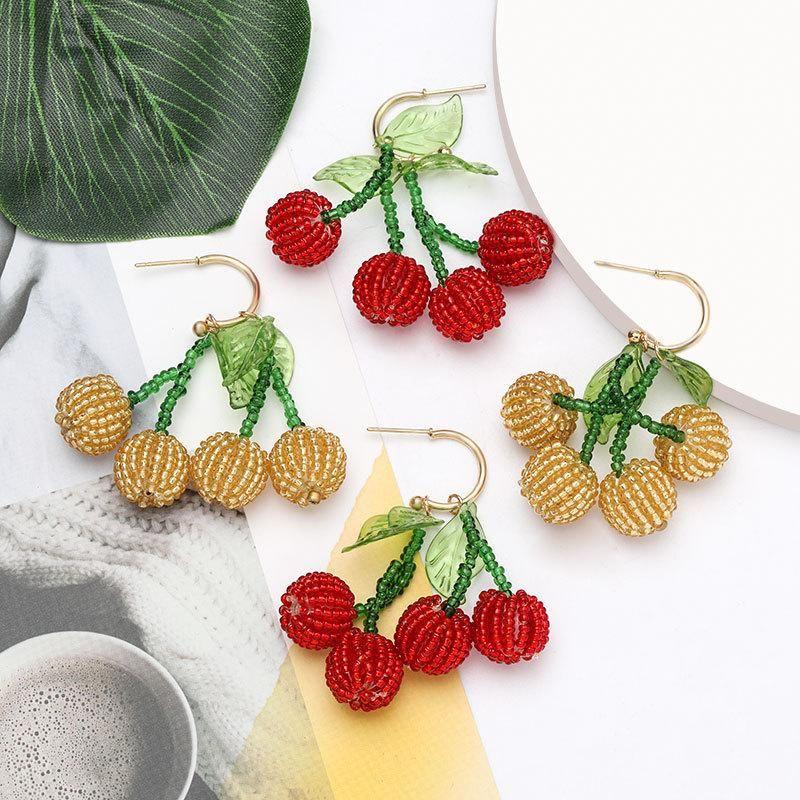 Fashion fruit lantern fruit rice beads earrings female earrings NHJE201850