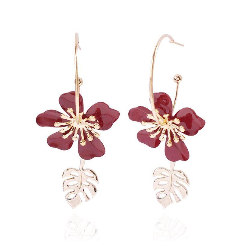 Spring alloy petal earrings fashion geometric leaves colored earrings women NHMD201852
