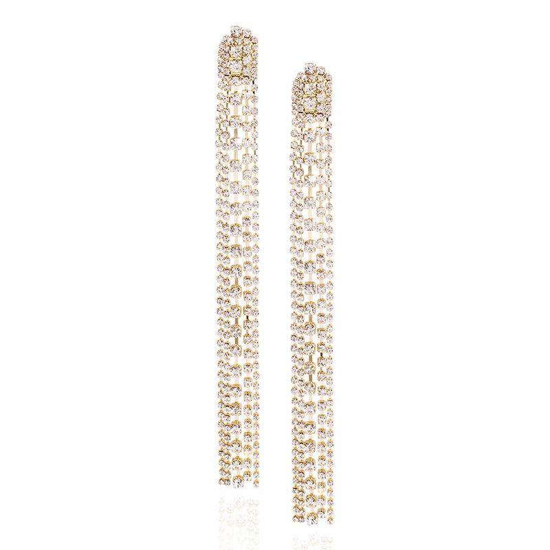 Exaggerated claw chain long tassel earrings fashion full diamond earrings women NHMD201856
