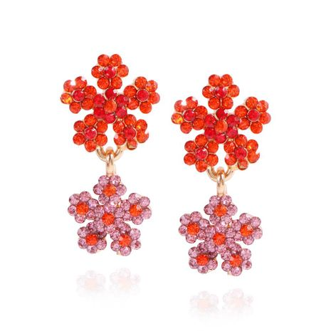 New style double flower earrings fashion wild full diamond imitation pearl color earrings wholesale NHMD201857's discount tags
