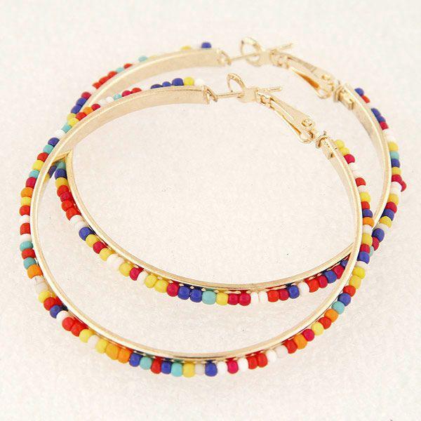 Fashion jewelry metal simple beaded large circle earrings NHSC202461