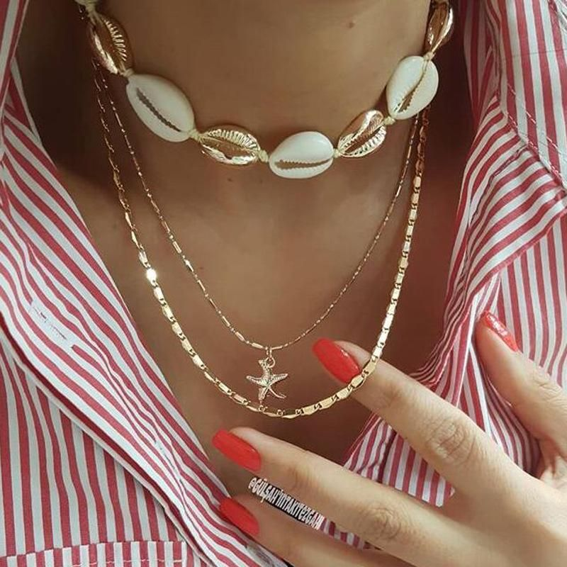 New jewelry fashion popular braided alloy shell starfish pendant multilayer necklace NHGY201860