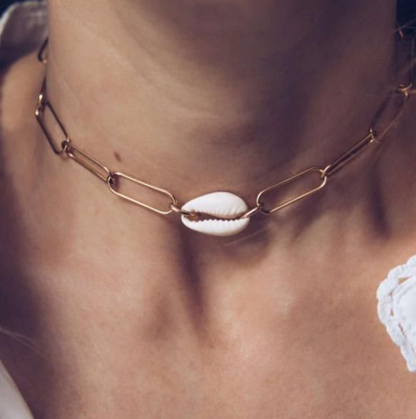 New jewelry exaggerated alloy chain shell necklace geometric metal necklace NHGY201861