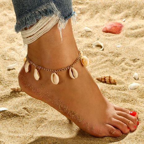 New style anklet wholesale shell anklet shell chain foot ornament shell jewelry NHGY201862's discount tags