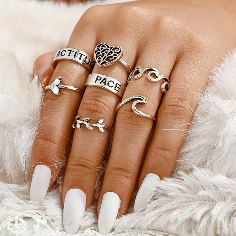 Hollow Love Ring 7 Piece Heart Leaf Alphabet Fishtail Ring Set NHGY201866