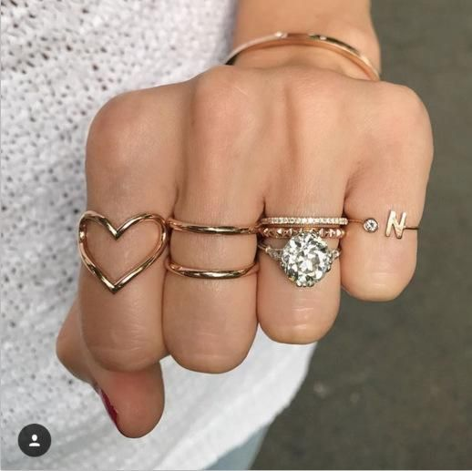 New jewelry love ring 5piece set twist letter N open joint ring set NHGY201868