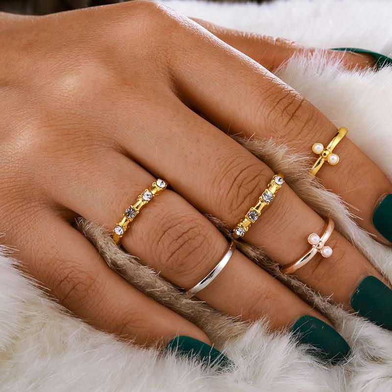 Fashion women's jewelry sets new simple retro tricolor diamond ring with 5 rings NHGY201869