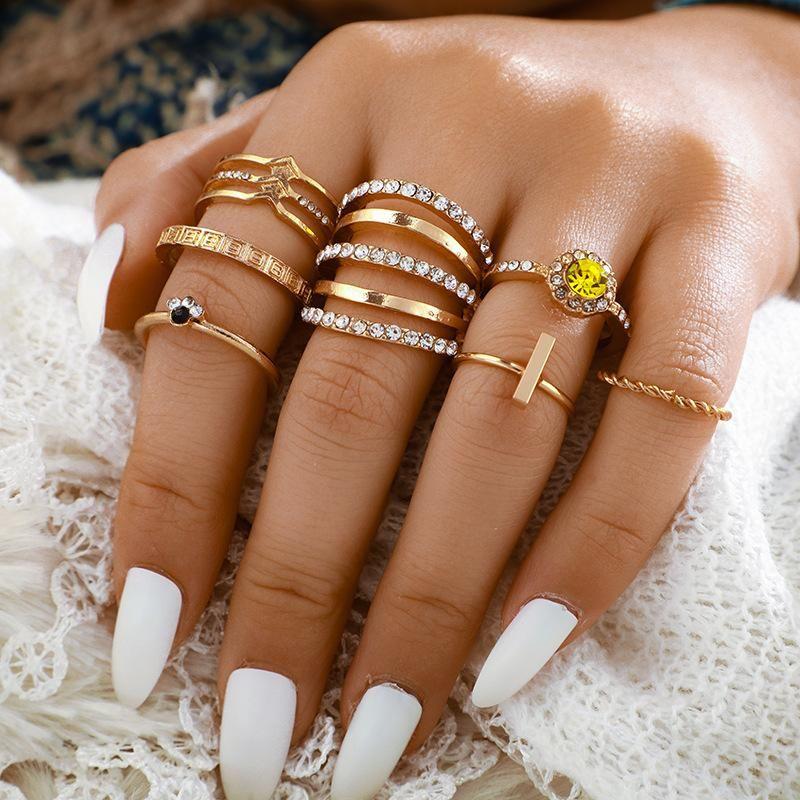 New twist twist diamond ring set of 7 simple and irregular retro joint ring set NHGY201870
