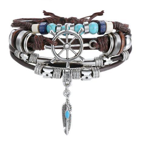 Nouveau Bracelet en cuir multicouche turquoise Bracelet pour homme noir vintage NHPJ201876's discount tags