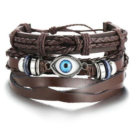 Bracelet en cuir tressé pour les yeux serti de bracelet pour homme noir de style punk créatif NHPJ201878's discount tags