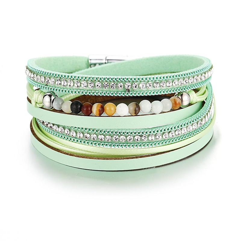 New Beads Full Diamond Leather Bracelet Retro Simple Green Bracelet NHPJ201879