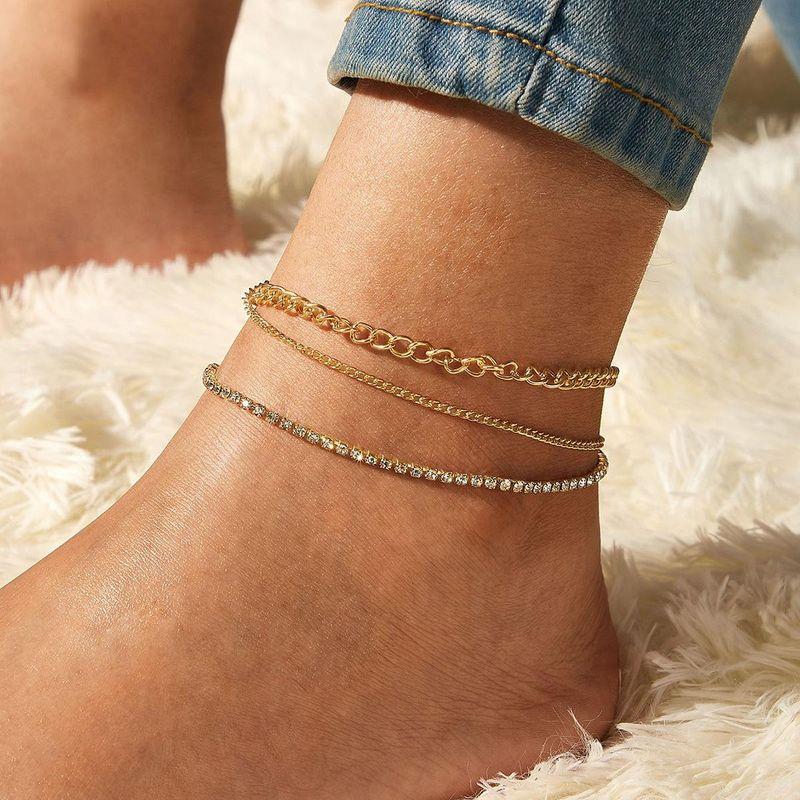Fashion New full-diamond multilayer anklet set wholesales  NHPJ201880