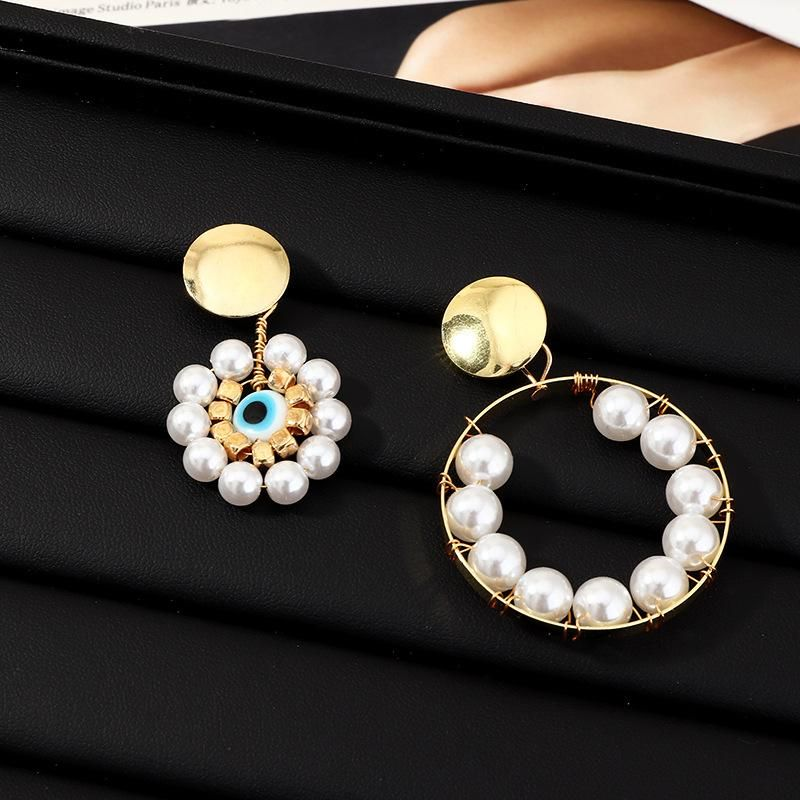 Fashion Pearl Earrings Exaggerated Eye Geometric Round Ear Studs NHNZ201886