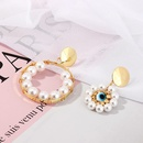 Fashion Pearl Earrings Exaggerated Eye Geometric Round Ear Studs NHNZ201886
