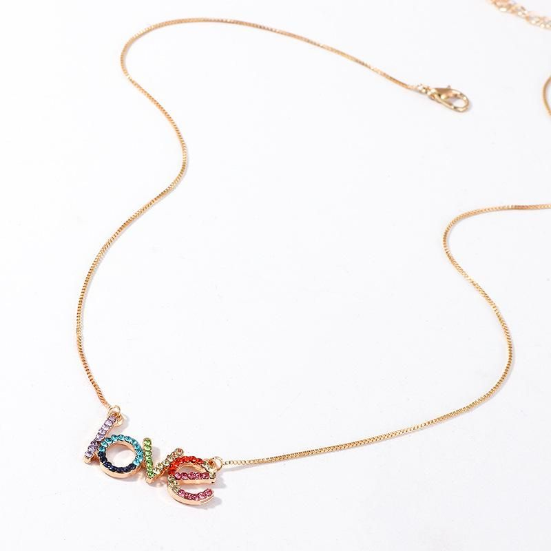 Jewelry Fashion Simple Letter Love Necklace with Color Diamond Pendant Clavicle Chain Women NHNZ201889