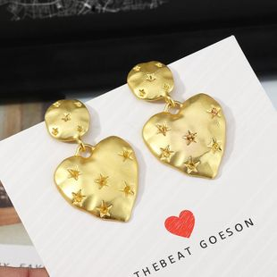 Vintage Fashion Metal Peach Heart Earrings Printed Star Stud Earrings NHNZ201892's discount tags