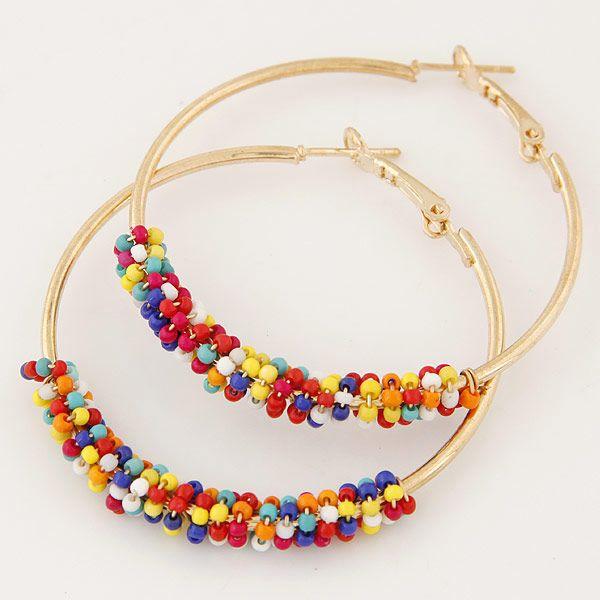 Fashion jewelry metal versatile simple bead earrings NHSC202460