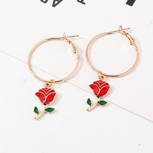 Fashion women's earring wild fashion alloy painting oil rose earrings circle earrings NHNZ201898's discount tags