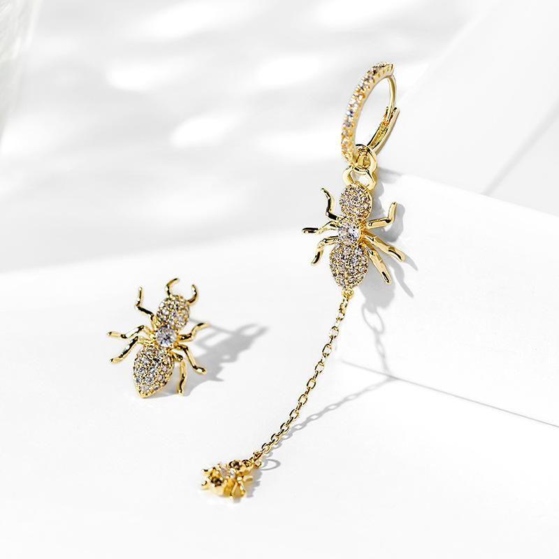 Fashion women's earring925 silver asymmetric sparkle earrings new one long and one short personality earrings earrings NHPP201905