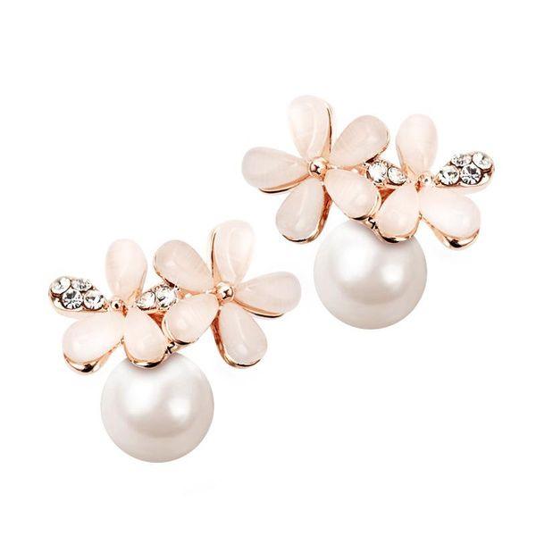 925 Silver Needle Korean sweet earrings female free pierced ear pierced ear clip imitation pearl earring  NHPP201909