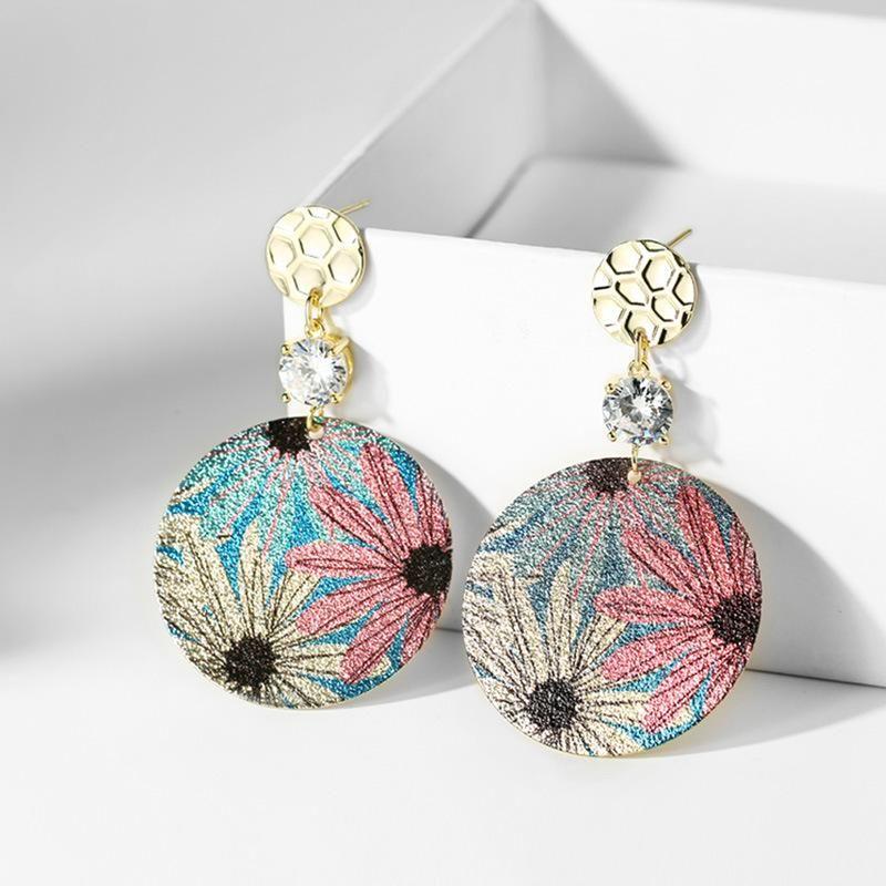 925 silver pin design petal round earrings ear clip female Korean simple trend wild earrings NHPP201918