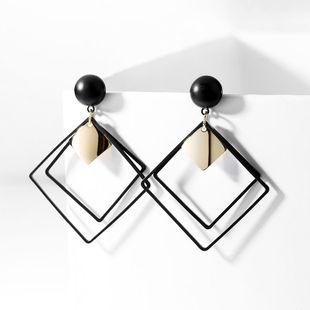 Retro diamond earrings black fashion geometric earrings female Korean simple fashion frosted ear jewelry NHPP201921's discount tags
