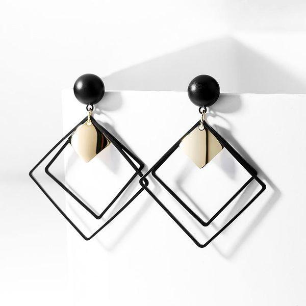 Retro diamond earrings black fashion geometric earrings female Korean simple fashion frosted ear jewelry NHPP201921