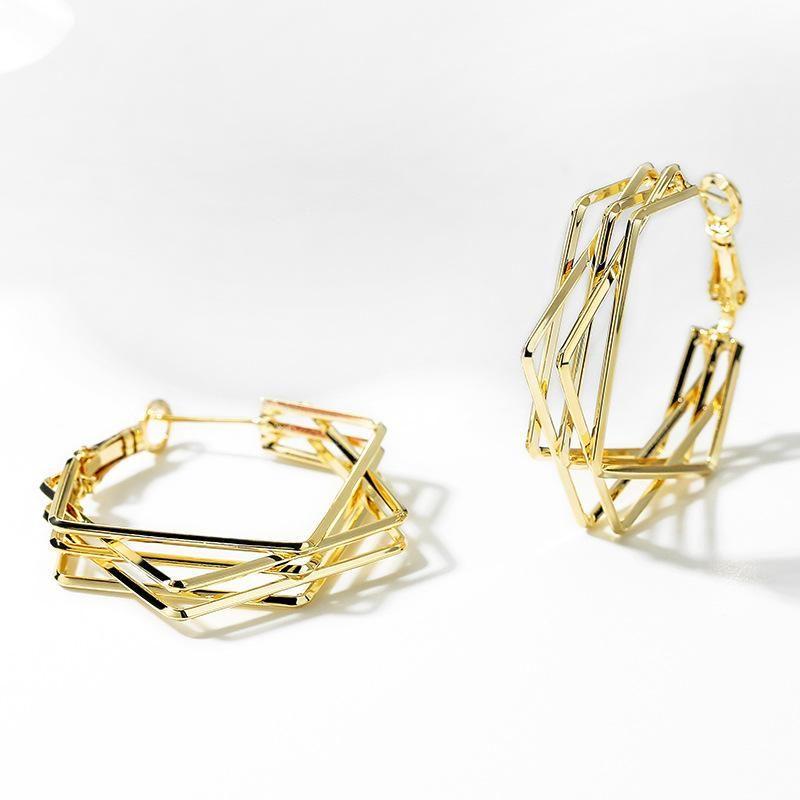 s925 silver pin exaggerated fashion geometric earrings female Korean simple fashion earrings NHPP201927