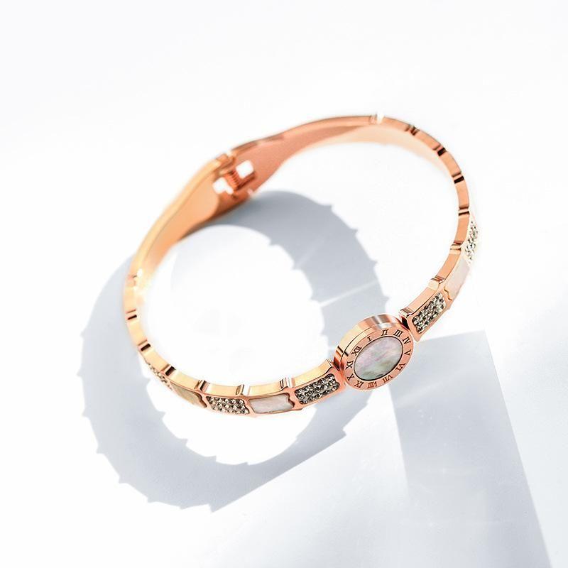 Titanium steel Roman alphabet opening fashion bracelet female Korean elegant simple bracelet NHPP201948