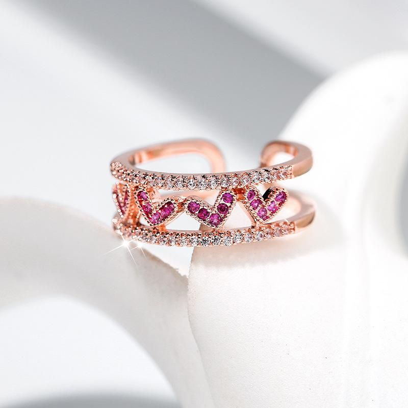 Opening adjustable cute ring female fashion simple wild ring rose gold ring NHPP201956