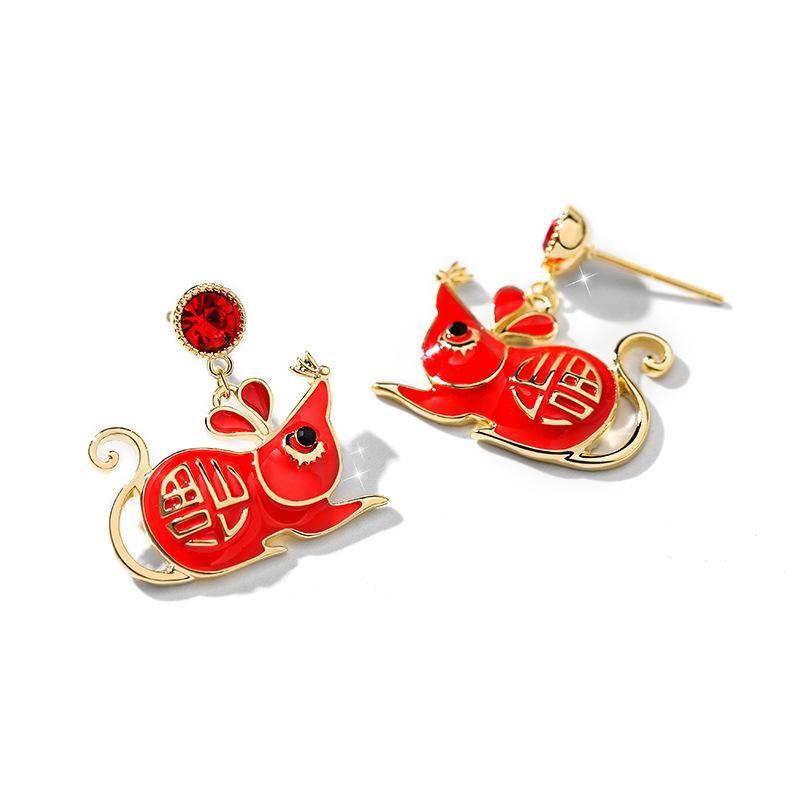 Fashion women's earrings925 silver needle red rat ear studs NHPP201964