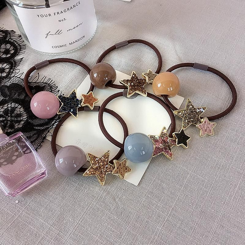 New Korean colorful ball full diamond double five star simple wild rubber band hair ring wholesale NHHI201967