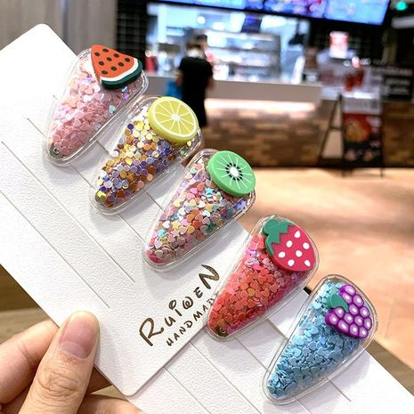 Korea Color Quicksand Transparent Child Fruit Hair Clip PVC Side Clip Baby BB Clip Side Clip Set NHSA201972's discount tags