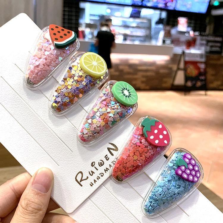 Korea Color Quicksand Transparent Child Fruit Hair Clip PVC Side Clip Baby BB Clip Side Clip Set NHSA201972