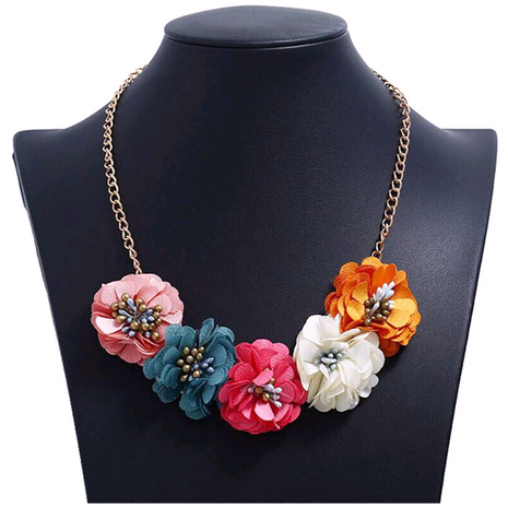 Fashion jewelry fabric flower necklace NHSC202452's discount tags